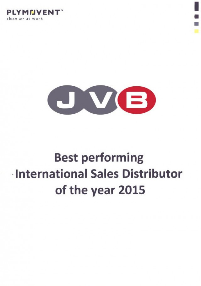 Plymovent best performing International Sales Distributor of the year 2015